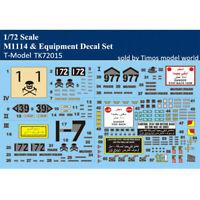 T-Model TK72015 1/72 Scale US M1114 & Equipment Decal Set