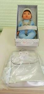 Tiny Treasures Baby Boy Doll  Weighted By Chad Valley + Changing Bag Rucksack