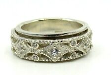 """AUTHENTIC MEDITATION SPINNER RING """"SACRED"""" 925 Silver WITH C.Z."""
