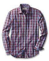 Goodthreads Men's Slim-Fit Long-Sleeve Gingham Plaid Poplin Shirt, Blue/Burgu...