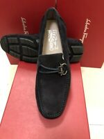 NIB Salvatore Ferragamo Front Blue Suede Leather Loafers 12EE