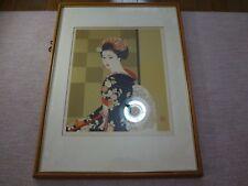 Shimura Tatsumi Japanese woodblock print Ukiyoe woodcut woodblock with frame