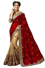 Embroidery Designer Saree Silk And Satin Red and Beige Saree
