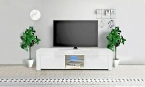 Modern TV Unit Small Cabinet Stand Gloss Doors 130cm with LED Lights Drawers