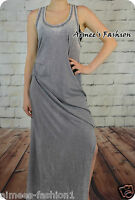 NEXT WASHED OUT GREY SIDE SPLIT BEACH SUMMER MAXI DRESS NEW UK 14,16,18,20,22