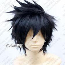 Naruto Uchiha Sasuke Cosplay Perücke Schwarz Gewellt Wie Echthaar Haarteile +Cap