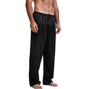 Mens Silk Satin Pajamas Pyjamas Lounge Pants Sleep Bottoms Sleepwear Nightwear