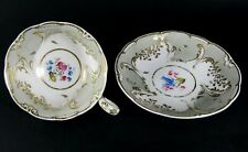 French Antique Old Paris Gilt Porcelain Cabinet Tea Cup and Saucer Hand Painted