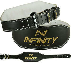 """Infinity Original Leather 6"""" Weight Lifting Belt Padded Back Support Gym Belt"""