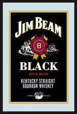 Jim Beam Label Logo black Nostalgie Barspiegel Spiegel Bar Mirror 22 x 32 cm
