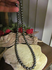 Vintage Gold Tone Hematite stone beads  Beaded  Necklace Very Well made