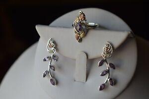 Coleman Co. Sterling 10k. Black Hills Gold Ring Earrings Size 9
