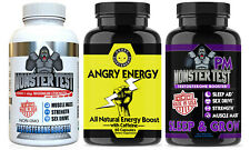 Angry Supplements Monster Test, Angry Energy and Monster PM Testosterone Booster