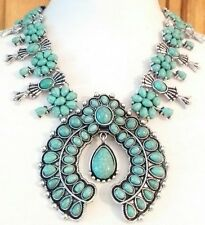 GORGEOUS TURQUOISE RESIN BEADS CABOCHON SQUASH BLOSSOM STATEMENT RUNWAY NECKLACE