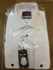 "BNWT M&S LUXURY 2 FOLD COTTON WHITE SHIRT DINNER FORMAL SHIRT SIZE 14.5"" RP £45"