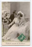 c 1910 Well Dressed WEDDING BRIDE Marriage French Fashion photo postcard