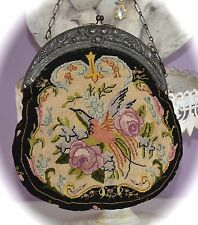 Gorgeous Antique 1900's Petit Point PURSE w Bird & Pink ROSES Double Sided