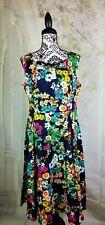 Hearts & Roses womens floral print sleeveless stretch dress side zip sz 12 b12a