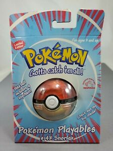 New In Box Pokemon Playables #143 Snorlax Pokeball And Keychain   1999