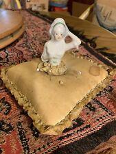 Antique Porcelain Half Doll Lady Pin Cushion Top Bust, Woman Handmade