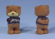 "* 2 M&M Mars Snickers 2.5"" Flocked Fuzzy Chocolate Chums Hbb Cute Twin Bears New"