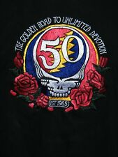 GRATEFUL DEAD 50TH ANNIVERSARY FULLY EMBROIDERED T-Shirt BLACK SIze M Mens NWT