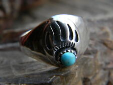 Magnificent sterling silver mens ring bear paw blue turquoise size 10 1/2 or 11