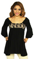 Black Maternity Top Blouse Batwing Tunic 3/4 Long Sleeve Casual Babyshower Lace