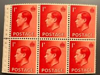 Royal Mail GB (SG458) PB2 Edward VIII MH Booklet Pane 6 Perf Type P