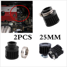 "2X 1"" Black Non-woven Fabric+Metal Crankcase Ventilation Air Filter Kit For Car"