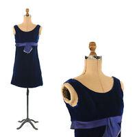 Vintage 60s Sapphire Blue Velvet Mini Mod Empire Waist Evening Cocktail Dress XS