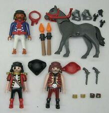 4pcs PLAYMOBIL GEOBRA pirate & Gray Horse Action figure toy Collectible A74C