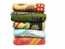 5 Pc Blanket Wholesale Lot Kantha Quilt Cotton Throw Ralli Reversible Bedspreads