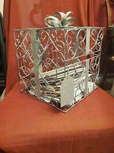 Silver glitter gift box for wedding cards wedding card box