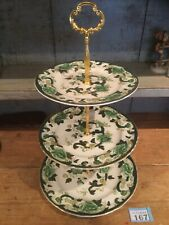 "MASONS IRONSTONE ""CHARTREUSE"" 3-TIER CAKE STAND  SANDWICH/ CAKE PLATE GREEN GOLD"
