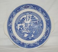 Vintage Blue Willow Ware Royal China Lugged Cup Cake Plate Royal Ironstone USA