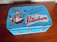 Ancienne boite tube  publicitaire pub patachou tannerie chaussures lapin