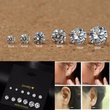 6 Pairs Women 925 Silver 3-8mm CZ Crystal Rhinestone Ear Studs Earrings Lots