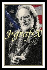 WILLIE NELSON - GUITAR; COUNTRY MUSIC - PORTRAIT POSTER - REALLY COOL ARTWORK!!!