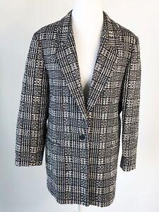 Emil Rutenberg Womens Jacket Blazer 100% Hand Woven Silk Made USA Black White