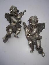 "Silver cherub Angel Vintage Christmas Ornament Metallic 8"" Set of 2 old world"