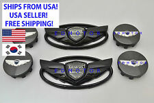 2011-2016 for HYUNDAI Genesis Coupe GLOSS BLACK Wing Emblem + Wheel Caps