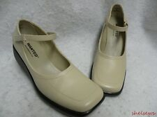 Wanted Beige Leather Wedge Heel Mary Jane Shoes 6M EC