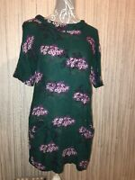 White Stuff Ladies Size 10 Unusual Green Purple Floral Tunic Long Top Oriential
