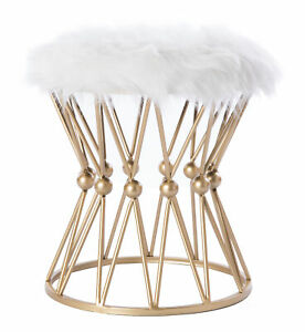 New Fabulaxe Round Gold Metal Stool with White Fur Top