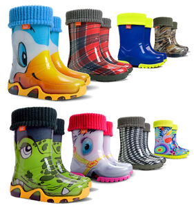 WELLIES RAIN KIDS BABY WELLINGTON WATERPROOF SNOW BOOTS LINING SOCKS CHILDREN