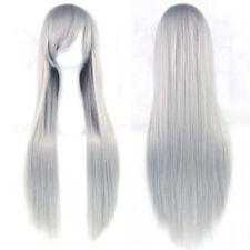 Perruques et toupets gris long sans marque pour femme