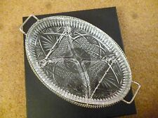 oval glass sectioned snack bowl silver colour plated holder 4 sections