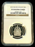 2010 Canada Fifty Cents Proof Silver Coin • NGC PF70 Ultra Cameo 1 of 6 Pop