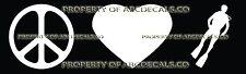 PEACE LOVE SCUBA DIVING MAN Vinyl Wall Sticker Car Bumper Window Decal
